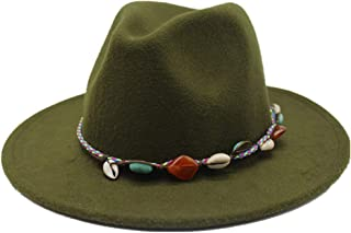 Sun Hat for men and women Fedora Men Women Hat Wool Leather Braided Rope Turquoise Boho Jazz Church Godfather Wide-brimmed Hat