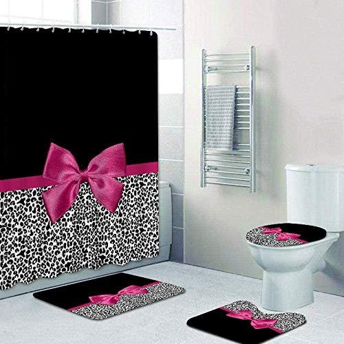 Duschvorhang 4-Teiliges Set Für Badezimmer, 3D Duschvorhang, Duschvorhang Mit Teppichen Und Matten, Stoff Waschbar Und Wasserdicht (180 X 180 cm),Girly Pink Ribbon Leopard Black