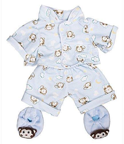 Blau affe pyjama & hausschuhe pjs outfit / teddy kleidung passend für 15
