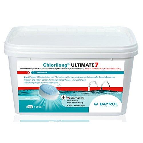 Bayrol Chlorilong Ultimate 7 Tablettes de chlore, 2 phases, 300 g, 4,8 kg