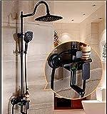 Ducha Juego de ducha negro Cobre antiguo europeo sobrealimentado Pantalla de bronce negro chino Termostato de ducha Sistema de ducha de mano Juego de ducha