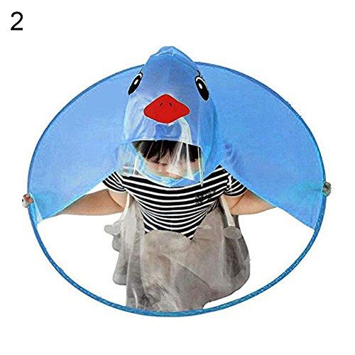 Dyyicun12 Student Regenjas Paraplu Leuke Cartoon Eend UFO Vorm Regenhoed Cape Opvouwbaar S Blue Duck