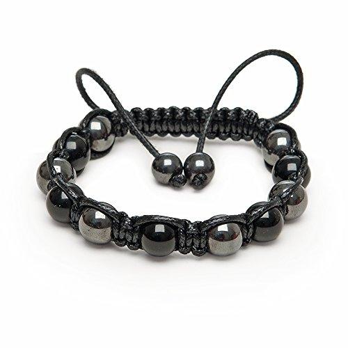 Zebredellas A36 einzigartiges schwarzes Onyx-Hämatit-Edelstein-Perlen-Shamballa-Makramee-Armband, klassisches Design, für Herren, Unisex, handgefertigt in Großbritannien