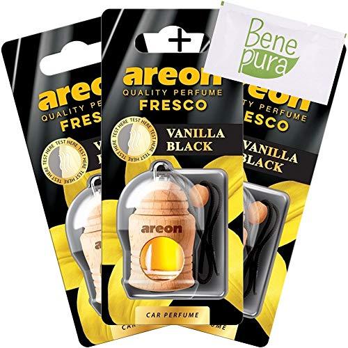 AREON Ambientador Perfume Fresco 4ml Vainilla Black Scent - Difusor de Botellas Colgante con Cubierta de Madera Natural, Larga duración, Juego de 3