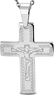 Stainless Steel Greek Key Chastity Crucifix Latin Cross Christian Religious Pendant - PLY730