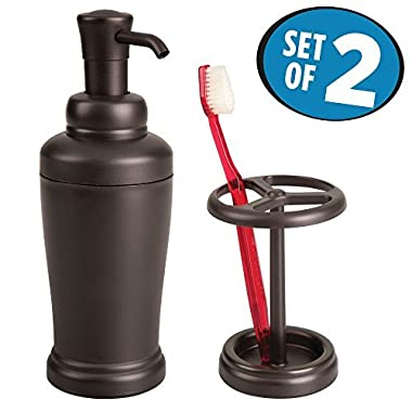 mDesign Soap Pump Dispenser and Toothbrush Holder for Bathroom Vanity – Set of 2, Bronze