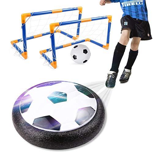 amzdeal Air Football Kit Balón Fútbol Flotante (1 Fútbol Flotante+1 Mini Fútbol +2 Portería de Fútbol +1 Aguja de Gas) Aire Fútbol para Actividad Interior o Exterior con Luz LED y Música (2 Goal)