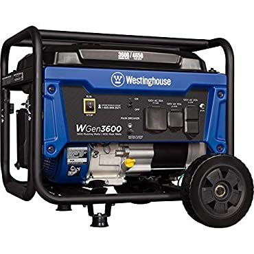 Westinghouse WGen3600 Portable Generator 3600 Rated Watts & 4650 Peak Watts RV Ready Gas Powered CARB Compliant
