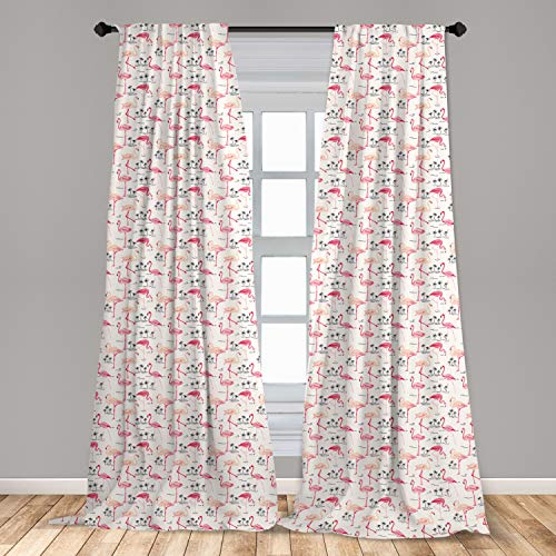 """Ambesonne Flamingo Curtains, Flamingos in Vintage Style Illustration Love and Romantic Animals Artwork Print, Window Treatments 2 Panel Set for Living Room Bedroom Decor, 56"""" x 84"""", Beige Pink"""