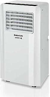 Taurus AC 2600 KT - Aire acondicionado portátil 3 en 1 (frío, deshumidificador y ventilador, silencioso, temporizador, control remoto, kit ventana, ruedas, compacto, 1050 W) blanco