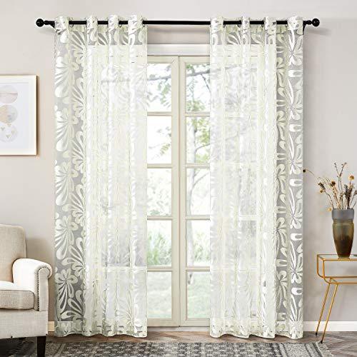 Topfinel Gardinen Ausbrenner mit Ösen und Blumen-Mustern Voile Vorhänge für Wohnzimmer 2er Set je 245x140cm (HxB) Sahne