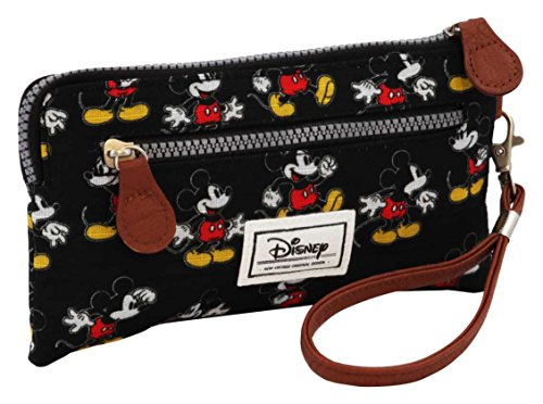 Disney Classic Mickey Visages Sac bandouli/ère Noir Negro 28 cm