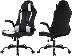 Meet perfect Racing Office Chair Gaming Chair High Back Computer Desk Executive Recliner Ergonomic Backrest & Seat Height Adjustable Swivel Rocker with Headrest & Lumbar Pillow Support- Black/White