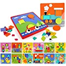Educational Button Art Puzzle Toys,Learning Color and Geometry Shape Matching Puzzle Peg Board Games for Boys and Girls Age 3+