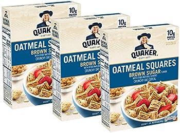 3-Pack Quaker Oatmeal Squares 14.5oz Brown Sugar Breakfast Cereal