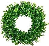 UArtlines 45cm Natürliche Girlande Haustür Kränze, Künstliche Grün Hängen Kranz für Drinnen Draußen Fenster Wand Hochzeit Dekoration(45cm Typ A)