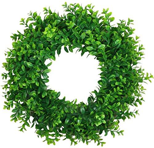 U'Artlines 45cm Natürliche Girlande Haustür Kränze, Künstliche Grün Hängen Kranz für Drinnen Draußen Fenster Wand Hochzeit Dekoration(45cm Typ A)