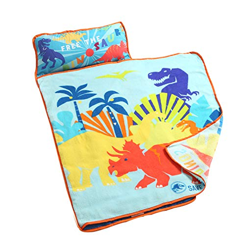 EsTong Kids Toddler Soft Nap Mat with Pillow Sleeping Bag Carry Handle with Fastening Straps Dinosaur