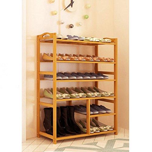 CHGDFQ Estante de Zapatos con Brazos 4/5/6 Nivel, Longitud 80CM Soporte de Almacenamiento de bambú, Altos apilables zapateros Modernos (Size : 6 Tier)