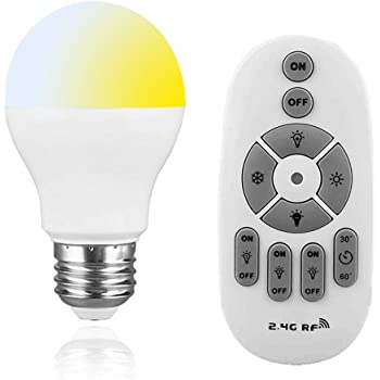 SenMeiGuang LED電球6Wは、60W調光可能およびカラーグレーディングE26ベース無段階調光電球2.4Gリモコンに相当しますメモリ機能付きタイマー機能付きナイトライト電球、リモコン付き高輝度省エネ、天井ペンダントランプフロアランプに使用可能 リモートを含む1つの電球