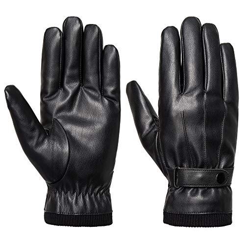 Acdyion Herren Winter PU Leder Handschuhe Touchscreen geeignet warm Fleecefutter warm schick Outdoor für Autofahren Motorrad Radfahren geeignet (S)