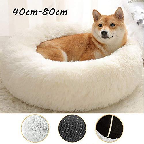 YLCJ Ronde hondenkennel voor pluche honden, uitneembaar bed voor katten voor huisdieren, gemakkelijk schoon te maken, in de machine wasbaar en antislip, helpt om beter te slapen, zelfverwarming, mosterd, gezellig, 80 cm, 40cm