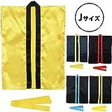 サテンハッピ 袖なし(帯付) 黒(襟青) J