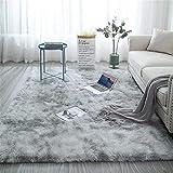 Aujelly Soft Area Rug Schlafzimmer Shaggy Teppich Zottige Teppiche Flauschige Bunte Batik-Teppiche Carpet Neu Hellgrau 120 x 160 cm