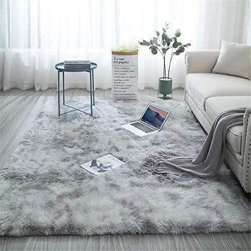 Aujelly Soft Area Rug Schlafzimmer Shaggy Teppich Zottige Teppiche Flauschige Bunte Batik-Teppiche Carpet Neu Hellgrau 120 x 200 cm