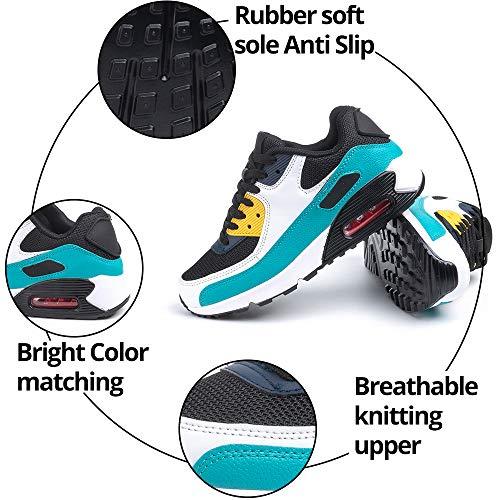 Zapatillas de Deportivas Mujer Zapatos Correr Hombre Running Casual Sneakers Cordones Colchón de Aire Ligero Respirable Calzado Verde 46