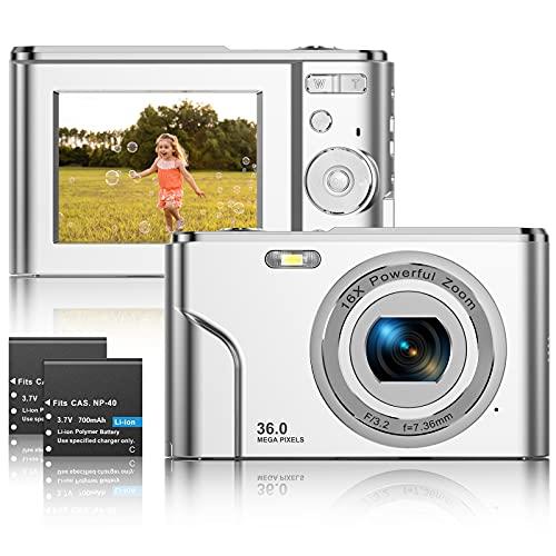 Fotocamere Digitali Compatte 1080P HD Macchina Fotografica 36 Megapixel 2,4 Pollici LCD Ricaricabile Vlogging Mini Video Fotocamer Digitale Zoom Digitale 16x per Adulti, Adolescenti, Bambini(Argento)