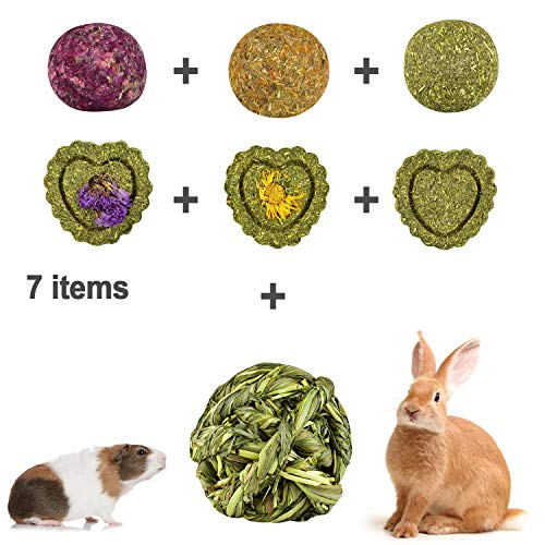 AIYA Rabbit Toys, Rabbit Chew Ball Timothy Grass, Guinea Pig Toys for Teeth Suitable for Bunny, Hamsters, Chinchillas, Parrots and Other Small Pets.