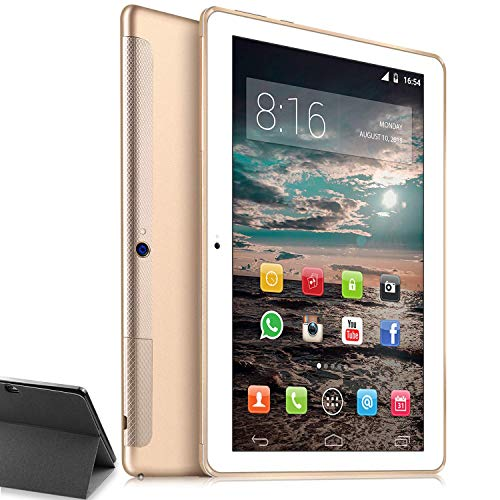4G LTE Tablet PC 10 Zoll Dual SIM - TOSCIDO Android 9.0,Quad Core,64GM eMMC,4GB RAM,Doppelt Lautsprecher Stereo,WiFi/Bluetooth/GPS/OTG - Golden