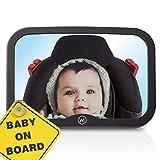 Wicked Chili Espejo de coche para bebé, espejo trasero irrompible, campo de visión XL, espejo de seguridad para asiento de bebé, espejo de asiento infantil para coche, antivibración (21,5 x 14,5)