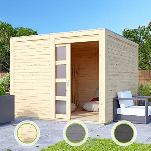 Hori® Gartenhaus I Gerätehaus Henne aus Holz I nordische Fichte anthrazit I 246 x 246 cm - 19 mm Bohlenstärke