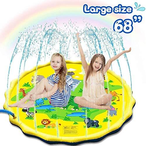 KJDFN QWE Splash Pad de riego estera del juego del 172CM, agua de riego for los niños de los niños del verano al aire libre Juguetes estera de agua, Splash Piscina for niños for el partido de jardín /