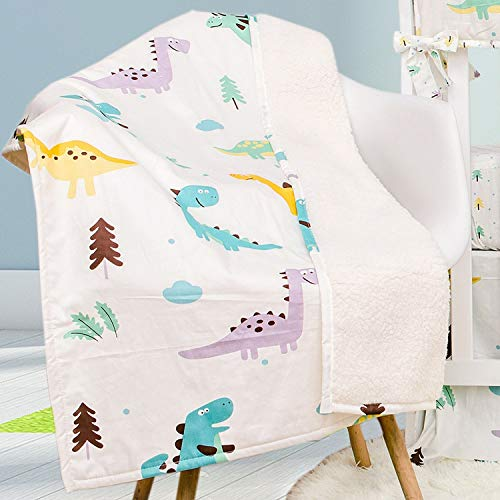 TEALP Baby Toddler Blanket Quilt 100% Hypoallergenic Cotton Fleece Throw Blanket 70cm x 100cm-Dinosaur