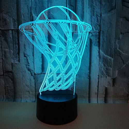 Yujzpl 3D-illusielamp Led-nachtlampje, USB-aangedreven 7 kleuren Knipperende aanraakschakelaar Slaapkamer Decoratie Verlichting voor kinderen Kerstcadeau-Basketbal in de doos