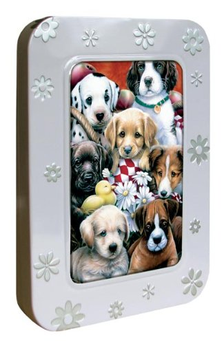 Tree-Free Greetings Noteables Notecards In Reusable Embossed Tin, 12 Card Assortment, Recycled, 4 x 6 Inches, Puppy Pals, Multi Color (76034)