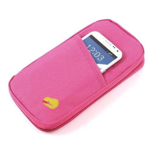 2-TECH - Portafoglio da viaggio con chiusura lampo, colore: rosa