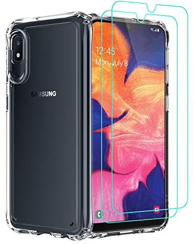 AEDILYS Compatible with Samsung Galaxy A10E Case,[Airbag Series] with [2 x Tempered Glass Screen Protector][ Military Grade ] | 15Ft. Drop Tested [Scratch-Resistant] Wireless Charging -Clear