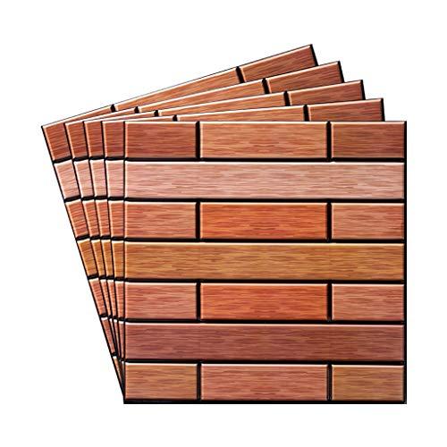 JHD 3D-Wandpaneele 5er-Pack, Wandpaneele für Innenwanddekoration, Selbstklebende wasserdichte Schaumstoff-Wandfliesen Holz für TV-Hintergrundwände Schlafzimmer (Non.4)