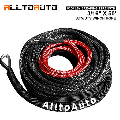 Why Should You Buy AlltoAuto Winch Rope, 3/16 x 50'-8200 LBs Synthetic Winch Rope, for UTV/ATV Winc...