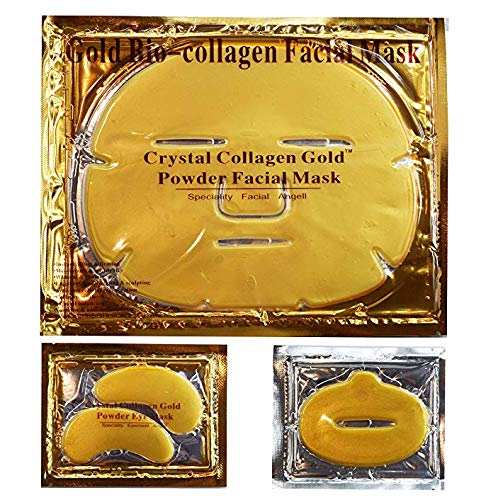 MáScara Facial De Cristal De ColáGeno BiolóGico De Oro 24K Quilates: 7 MáScaras Faciales + 7 MáScaras De Ojos + 7 MáScaras De Labios. Cuidado De La Piel Antienvejecimiento, Antiarrugas, Hidratante