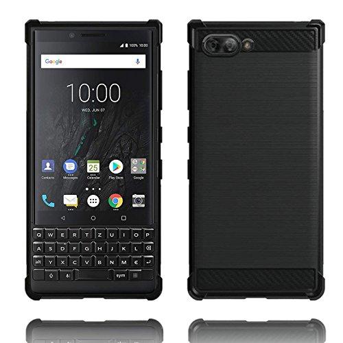 Voviqi BlackBerry KEY2 Hülle, Tasche mit Stoßdämpfung Robuste TPU Silikon Schutzhülle Stylisch Karbon Design Handyhülle Hülle Hülle für BlackBerry KEY2 (Schwarz)
