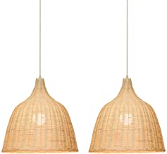KIRIN Bamboo Rattan Pendant Hanging Light Fxture Lamp Nordic Chandelier for Kitchen Bedroom Living Room Restaurant Hotel E26 Base 2 Pack (17.71