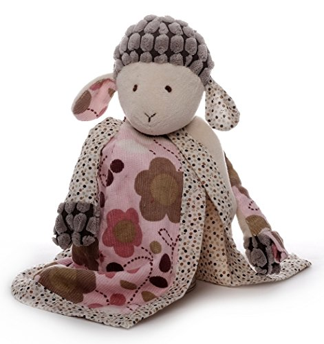 Inwolino 7967 - Schmusetuch Schaf Sweety mit Schnullerhalter, creme/rosa, Schnuffeltuch, Trösterchen, 26 cm