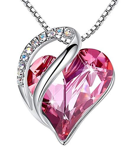 Leafael Infinity Collar con colgante de corazón de amor, joyería de cristal con piedra natal, regalos para mujeres, tono plateado, 18