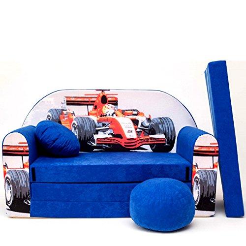 millybo Kindersofa Couch Kindercouch Spielsofa 3in1 Kinder Sofa Minisofa blau (MI-C2)