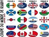 SAFIRMES Stickers Coupe du Monde Rugby 20 Autocollants Pays participants 17 x 27 mm en Vinyle Autocollant.